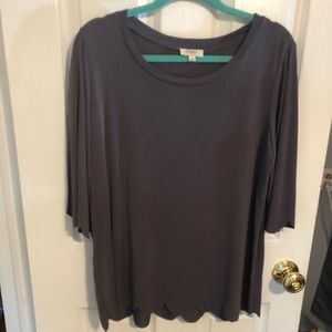 Gray Umgee scalloped edge shirt